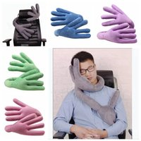 Wholesale travel neck pillows for airplanes online - Travel Neck Pillow Multi Function Changeable Pillow of Bends Hand Shape Neck Support Pillow for Car Airplane Train Travel Gifts MMA1055 pc