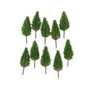 Wholesale Christmas House Model - 10pcs Set 68mm Plastic Trees Model For Railroad House Park Street Layout Green landscape Scene Scenery Christmas Tree