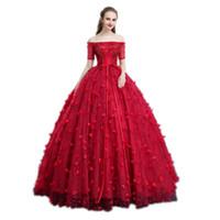 victoria cosplay venda por atacado-Pétalas de luxo flor vestido de baile vermelho medieval vestido princesa dos desenhos animados Medieval Renascença vestido de rainha vestido de cosplay Victoria
