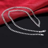 Wholesale hot valentines day gifts - 16 inch price Silver Plated MM Flat men women chain unique cute nice noble hot Valentine gifts fashion wedding necklace jewelry