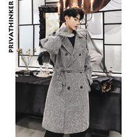ingrosso cappotti di lana coreani di mens-Designer Wool Trench Coat 2018 Mens Long Blends Coat Inverno maschio moda coreana Autunno giacca a vento Outwear