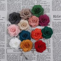 Wholesale men wedding flower accessories - 4CM Handmade Lapel Flower Men Women Camellia Boutonniere Stick Brooch Pin Wedding Party Suit Fashion Accessories A556