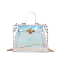 Wholesale candy plastic bag fashion - Laser messenger bags candy women fashion jelly Transparent handbag Plastic shoulder bags hasp Lock Chains handbags holographic
