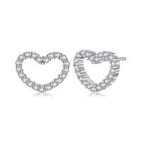 pendientes de corazón de plata de ley huecos al por mayor-Plata esterlina 925 Be My Valentine Heart Stud Pendientes, Clear CZ Femme Stud-Earrings Joyería Brincos Fine Jewelry Hollow Heart