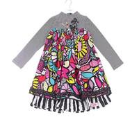 eulen mädchen kleider großhandel-Kinder Mädchen Eule Frosch Cartoon Falsche zwei Stücke Kleid Prinzessin Langhülse Kleider schwarz Großhandel