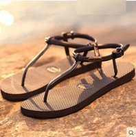Wholesale Black Roman Gladiator Sandals - 2018 fashion new simple non-slip iron flat ladies flip flops summer students Roman sandals toe sandals slippers