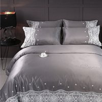 Wholesale Wedding Bedding Sets Lace - Hot 4pcs Wedding Cotton Silk Solid White Green Gold Home Bedding Set Soft Women bedroom Bed Sheets Elegant young lady Sexy Lace