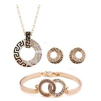 Wholesale set make earrings resale online - Luxury K Rose Gold Plated Geometric Diamond Crystal Necklace Bracelet Earrings for Women Made With SWA Elements Wedding Jewelry Sets