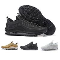 the latest bbfa0 cc70d Nike Air max 97 OG Tripel Blanc Métallique Or Argent Bullet 97 Meilleur  qualité BLANC 3 M Premium Chaussures de Course avec Boîte Hommes Femmes  Livraison ...
