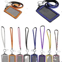 Rhinestone Bling Crystal Beads Lanyard with Vertical ID Badge Holder Neck Strap for Cell phone Mobile phone 8 colors can mix colors