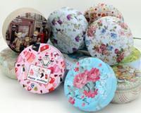 Wholesale Tea Gift Tins Wholesale - Pastoral Style Round Tin Box Rose Tea Gift Box Wedding Tinplate Candy Box Free Shipping wen5519