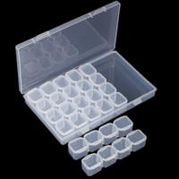 klare kunststoff-organisatoren großhandel-Nail art Aufbewahrungsbox Leere 28 Grids Fach Kunststoff Klar Vorratsbehälter Schmuck Mini Diamant Organizer Boxen Hohe Qualität 3 7 px X Z