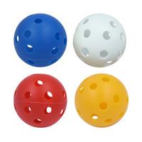 agujero de bola de plástico al por mayor-10 Unids 41mm Bolas de Entrenamiento de Golf de Flujo de Aire de Plástico Hollow con Bolas de Golf Agujero Accesorios de Práctica al Aire Libre