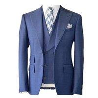 ingrosso abito da festa su misura-2018 Custom Made Custodize Tailored Blue Suit da uomo Business Suit Suit Slim Fit 3 pezzi Tuxedo Prom MensWedding Suits Groom Blazer