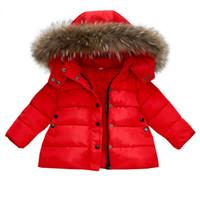 chaqueta roja de invierno para niñas al por mayor-Los niños abajo chaqueta chaquetas abrigos de invierno primavera para las niñas Escudo ropa de los muchachos de los niños roja del bebé de la ropa del Parkas