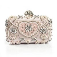Wholesale pearls purses clutches - Luxury Crystal Evening Bag Handmade Style Rhinestones Pearl Women Evening Bags Vintage Satin Lady Party Wedding Clutches Purses