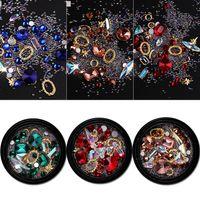 nägel edelsteine großhandel-Neue Mixed Nail Design Bunte Micro Perlen und Edelstein Kreis 3D Nail Art Glitter Crystal AB Nicht Hotfix Diamant Strass