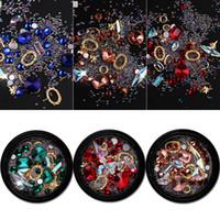 ingrosso unghie pietre preziose-New Nail design misto Micro perline colorate e pietre preziose Circle 3D Nail Art Glitter Crystal AB Rhinestones non Hotfix Diamond