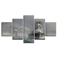 berg leinwand drucke großhandel-(Kein Rahmen) 5 Panles Schiff Schnee Berg Landschaft Poster Giclee Leinwand Gemälde für Office Home Dekoration