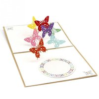 Wholesale valentine butterflies - 13*15 cm New Stylish Beautiful Funny Cute Paper Carving 3D Butterfly Birthday Valentine Gift Greeting Card Anniversary Postcard