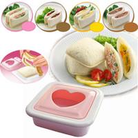 Wholesale heart shape cutters - Fashion Plastic Pink Cute Heart Love Shape Sandwich Maker Mold Bread Cutter Kitchen Tools DIY Sandwiches Mould Bento Utensil 7 2rh Z