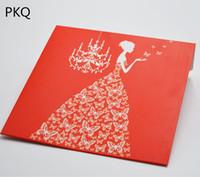 конструкция конверта мешка оптовых-20pcs/lot 12.8*12.8cm Red bride Design Kraft Paper Envelope Bag CD DVD Packing Bag Wedding Card CD Holder For Event Party