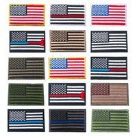 remendos militares da bandeira venda por atacado-15 Cores 8 * 5 cm EUA Bandeira Militar Tático Patches Borda de Ouro Bandeira Americana de Ferro em Patches Applique Jeans Tecido Adesivo CCA9449 200 pcs