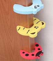 bebeğin parmak koruyucusu toptan satış-Kapı Durdurma Emniyet Hayvan Karikatür Kapı fiş bebek Güvenlik Kapıları için güvenlik stoper Kapı klip Kilit Tutam Guard Bebek Parmak Koruyucu