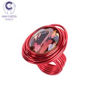 Wholesale Fashion Oval Stone Ring - whole saleHanCheng Fashion Multi Color Black Wind Metal Wire Craft Big Oval Stone Handmade Ring Crystal Rings For Women Jewelry Gem Bijoux