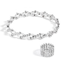 925 pulseras de plata para niñas al por mayor-925 pulseras de plata esterlina para las mujeres telescópicas de cristal brazaletes de oro rosa plata color doblado joyería brazalete pulsera para niñas