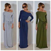 Wholesale Plain Maxi Dresses - Women Boho Long Sleeve Maxi Dress Ladies Plain Solid Summer Beach Party Evening Belt Dress Sundress 3 Colors OOA4037