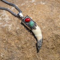 amuletos tibetanos al por mayor-Collar colgante de hueso de los hombres Colgante de collar de acero inoxidable Colmillos de amuleto tibetano Dije de diente de lobo real de plata natural del diente Vintage