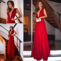 vestidos de noche rojos ajustados al por mayor-Red 2018 Vestidos de noche Sexy Plunging V Cuello plisado Lentejuelas Beads Cabidos largos formales Vestidos de fiesta Fiesta Vestidos de gala Celebrity Wears