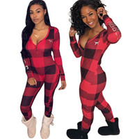 Wholesale women one piece clothing for sale - S XL Plaid Women Jumpsuit PINK Letter Long Sleeve Winter Autumn Rompers Red Black Grid One Piece Tracksuit Sportswear Joggers Clothes