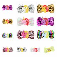 klibi saç süslemeleri toptan satış-Çocuklar Unicorn Sequins Saç Klipleri Ile glitter Tokalar Fırıldak Saç Bow Klipler 6 Renkler Cosplay Tokalarım Parti Dekorasyon GGA948