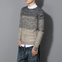 Wholesale natural wool yarn - Men Sweater Pull Homme 2016 Long Sleeve Thick Colored Yarn Mens Jumpers Sueter Hombre Knitwear O Neck Sweater Men Fashion hot