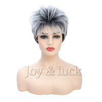 perruques élégantes pour femmes achat en gros de-Nouvelle Arrivée Courte Coiffure Synthétique Femmes Perruque Pixie Cut Élégant Droite Cosplay Party Perruques De Cheveux