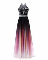 balo elbisesi boyun sırtı tasarımı toptan satış-2019 Seksi Halter Boyun A-line Degrade Renk Gelinlik Modelleri Boncuklu Sheer Boyun Lace Up Dalma Geri Tasarım Kadınlar Abiye Bel Boncuklu Kanat