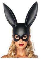 ingrosso maschera facciale del cranio d'argento-10pcs Coniglio mascherina del partito Orecchie donne sexy Maschera sveglie orecchie da coniglio lungo Bondage Maschera di travestimento di Halloween del partito Cosplay Props
