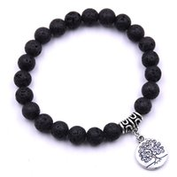 Wholesale imitation tree - Fashion Tree of Life Charms 8mm Black Lava Stone Bracelet DIY Aromatherapy Essential Oil Diffuser Bracelet Yoga Jewelry