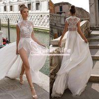 Wholesale Beach White Bohemia Dress - Julie Vino 2018 High Slits Wedding Dresses Bohemia Sexy Lace Appliqued A Line Beach Illusion Side Split Custom Made Bridal Gowns
