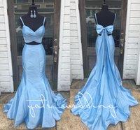 mermaid tarzı balo elbiseler kayışlar toptan satış-Yeni Stil 2018 Açık Sky Blue Mermaid Gelinlik Spagetti Sapanlar Pileli Tafta Yay Backless Mor Altın İki Adet Gelinlik
