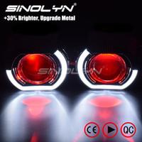 xenon projektör ışığı toptan satış-Sinolyn LED Koşu Işıkları Melek Gözler HID Bi xenon Projektör Lensler için Farlar H4 H7 Araba Güçlendirme Far Lens Şeytan Gözler