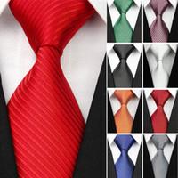 широкие красные галстуки оптовых-2018 New Wide Silk Ties for Men Striped Solid 10cm Men's Neckties Business Red Wedding Suit Neck Tie Black White Blue Gravatas