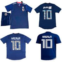 ternos do japão venda por atacado-Tsubasa Futebol Jersey Shorts Japão Casa Azul Futebol Uniforme 18 19 OKAZAKI KAGAWA Camisas De Futebol Calças 2018 Japão Copa Do Mundo de Futebol Ternos