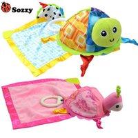 Wholesale cute turtle plush - Wholesale- Sozzy baby soft plush towel cute little turtle toys early education development toy for children handkerchief