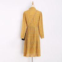 neue art und weise elegante bürokleider großhandel-Frauen Frühling Kleid Plissee Kleider Neue Vintage-Mode Büro Gelb Stand Hals Floral Elegantes Kleid Vestidos Weibliche