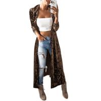 yeni kadın ön açık hırka toptan satış-ZH Yeni Sonbahar Kadife Ceket Kadınlar Ashion Açık Ön Uzun Kollu Yaka Boyun İnce Rüzgarlık Parti Maxi Uzun Ceket Hırka