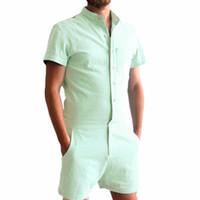 Wholesale Linen Jumpsuits - New 2018 Summer Unique Romper Men Linen Shirt Short Sets Single Breasted Jumpsuit Fashion Overalls Tracksuit Casual Cargo Pants