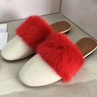 Wholesale real nest - Real Leather Ladies Slippers Fur Women Nest Shape Cozy Slippers Flats Shoes Black Branded Cover Toe Loafer Shoes slipper